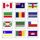 Reeks van nationale vlaggen op metalen textuur platen — Stockvector