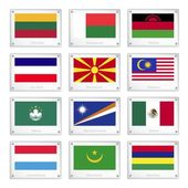 Group of National Flags on Metal Texture Plates — Stok Vektör