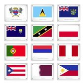 A Set of National Flags on Metal Texture Plates — Stock Vector