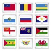 Twelve Countries Flags on Metal Texture Plates — Stock Vector