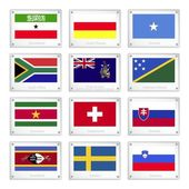 Set of Countries Flags on Metal Texture Plates — Vettoriale Stock