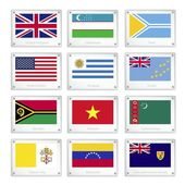 Gallery of Countries Flags on Metal Texture Plates — Stock Vector