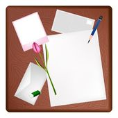 Pencil and Picture Frame on A Blank Page and Letter — Vector de stock