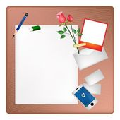 Pencil and Red Rose on A Blank Page with Envelope — Stock Vector