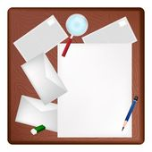 A Pencil and Magnifying Glass on Blank Page and Envelope — Cтоковый вектор