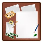 Computer Equipment on A Blank Page and Envelope — Stock Vector