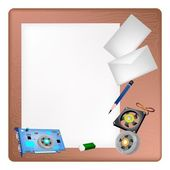 Computer Hardware on A Blank Page and Envelope — Stockvector