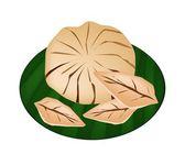 Sweet Ripe Santol Fruit on A Green Banana Leaf — Stock Vector
