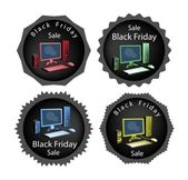PC Computer on Black Friday Sale Background — Stock Vector