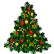 Christmas tree with balls, stars, candies — Stock Vector #11949527