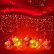 Red background with Christmas balls — Stock Vector #11954629
