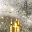 Light Christmas background with burning candles and fir-tree — Stockvector  #11954714