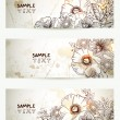 Set of three headers with hand drawn flowers branch. — Stock Vector