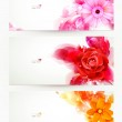 Set of three banners, abstract headers with flowers and artistic blots — Stock Vector