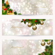 Set of three light Christmas banners with vitality cones, fir tree and balls — Vecteur #33359427