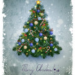 Vintage greeting-card with Christmas fir-tree — Stock vektor