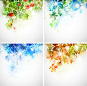 Set of four seasons background — Stock Vector