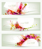 Set of three headers. Abstract artistic Backgrounds — Stock Vector
