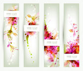 Set of four headers. Abstract artistic Backgrounds — Stock Vector
