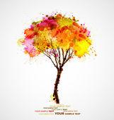 Jesień streszczenie drzewo tworzące przez plamami — Wektor stockowy