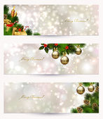 Set of three light Christmas banners with vitality cones, fir tree and balls — Vecteur