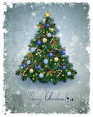 Vintage greeting-card with Christmas fir-tree — Stock Vector