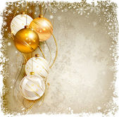 Elegant Christmas background with gold and white evening baubles — Vecteur