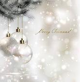 Shiny Christmas background with three evening balls — Vector de stock