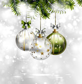 Light Christmas background with three evening balls and green fir-tree — Vecteur
