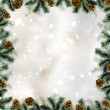 Shiny Christmas background with pine cones and branches frame — Stok Vektör
