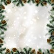 Shiny Christmas background with pine cones and branches frame — Векторная иллюстрация