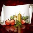 Stock Vector: Christmas background with burning candles and Christmas bauble