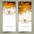 Two gold Christmas greeting cards with bow. — Vector de stock