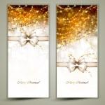 zwei goldene Weihnachtskarten mit Bogen — Stockvektor