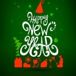 Fir tree forming from letters. Happy New Year party. — Vettoriali Stock