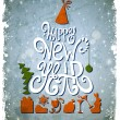 Fir tree forming from letters. Happy New Year old greeting-card. — Imagen vectorial
