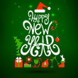 Fir tree forming from letters. Happy New Year. — Imagens vectoriais em stock