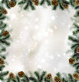 Shiny Christmas background with pine cones and branches frame — Vecteur