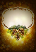 Christmas background with three cones and fir tree — Stockvector