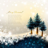 Shiny Christmas background with three fir-trees — Stock Vector