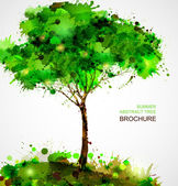 Green abstract tree forming by blots — Stock Vector