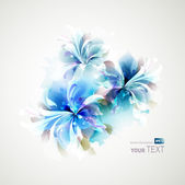 Tender background with blue abstract flowers — Stock Vector