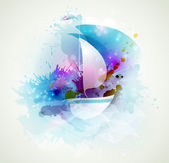 Sailboat at sea with waves of blots — ストックベクタ
