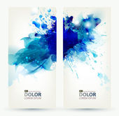 Set of two banners, abstract headers with blue blots — Stock Vector