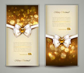 Two gold Christmas greeting cards with bow. — Stock Vector