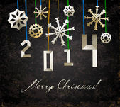 Poster de natal vintage com cortados flocos de neve — Vetorial Stock