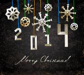 Vintage weihnachten-poster mit geschnittenen schneeflocken — Stockvektor