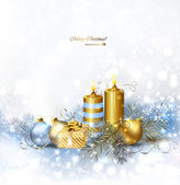 Light Christmas background with burning candles and Christmas bauble — Stockvektor