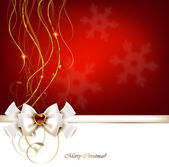 Christmas red greeting card with bow and jewelry. — Stock vektor