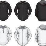 Black white men's hoodie sweatshirt template — Stock Vector #34918779